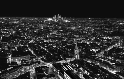The City of London at night - Looking East from Broadgate Tower2 mono