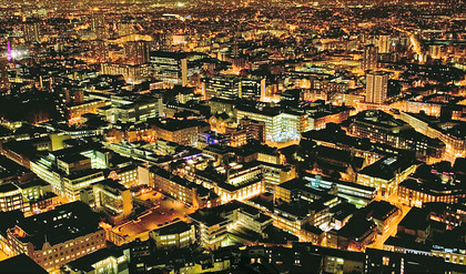 The City of London at night - Looking West from Broadgate Tower