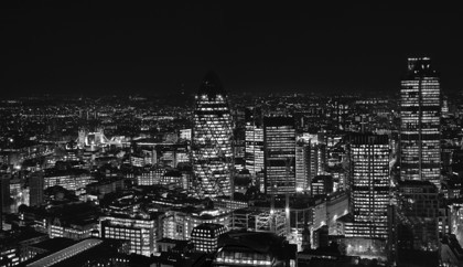 The City of London at night - Tower 42, The Gherkin and Tower Bridge mono