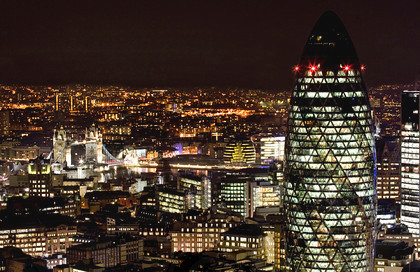 The City of London at night - Gherkin and Tower Bridge