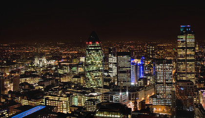 The City of London at night - Tower 42, The Gherkin and Tower Bridge