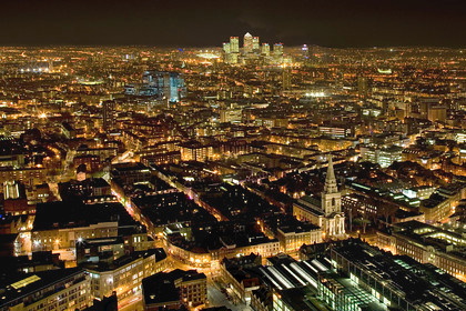 The City of London at night - Looking East from Broadgate Tower