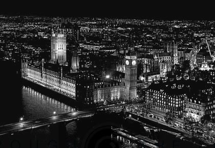 The City of London at Night - Westminster mono