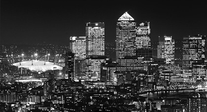 The City of London at night - Docklands & Dome mono